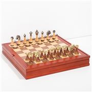 Italfama - Chess Men + Chess Board Walnut Maple Container