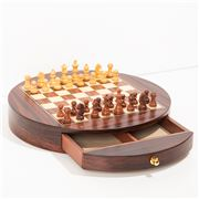 Italfama - Wooden Chess Men + Round Wood Chess Board