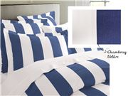 Rans - Oxford Stripe Double Quilt Cover Cobalt Set of 3pce