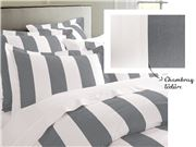 Rans - Oxford Stripe King Quilt Cover Charcoal Set of 3pce