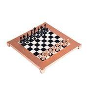 Manopoulos - Class. Metal Staunton Chess Set Blk/Copper 28cm