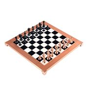 Manopoulos - Class. Metal Staunton Chess Set Blk/Copper 36cm