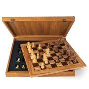 Manopoulos - Chess Set w/ Staunton Chessmen Olive Burl 40cm