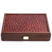 Manopoulos - Dominoes Brown Leather Ostrich Tote Wood Case
