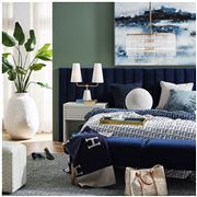Cafe Lighting - Broadway Tufted Queen Bedhead Navy Velvet