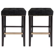 Cafe Lighting - Canyon Black Oak Bar Stool Black Suede