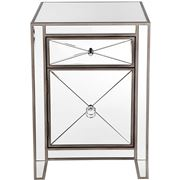 Cafe Lighting - Apolo Mirrored Bedside Table Antique Silver