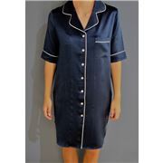 Silk Magnolia - Silk Nightshirt French Navy Piped In Ivory M