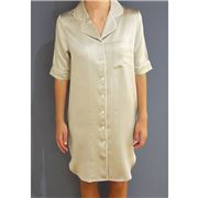 Silk Magnolia - Silk Nightshirt Pearl Grey Piped In Ivory L
