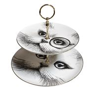 Rory Dobner - Cat Monocle/No Monocle Two Tier Cake Stand
