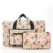 Eco-Chic - Lightweight Foldable Bag Owl Holdall Beige