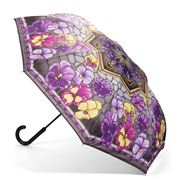 Galleria - Reverse Close Umbrella Stained Glass Pansies