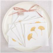 Serenk - Gold Gingko Leaves Cocktail Napkin Set 6pce