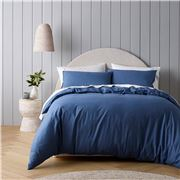 Bianca - Riviera Organic Cotton Quilt Cover Set Blue DB 3pce