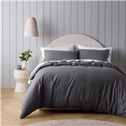 Bianca - Riviera Organic Cotton Quilt Cover Set Charcoal QB