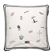 Lexington - Blue Sea Embroidered Pillow Cover White 50x50cm