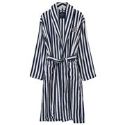 Lexington - Striped Terry Robe Large Navy & White