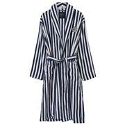 Lexington - Striped Terry Robe Small Navy & White