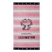 Lexington - Graphic Velour Beach Towel Pink & White 100x180