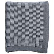 Paloma - Knitted Pintucks Throw Black/Natural 130x170cm