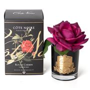 Cote Noire - Single Rose Carmine Red in Black Glass w/Spray