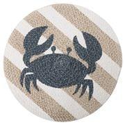 Coastal Home - Cotton Placemat Round Crab Natural Blue 35cm