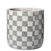Coastal Home - Checker Ceramic Pot Black & White 19cm