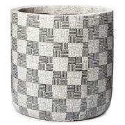 Coastal Home - Checker Ceramic Pot Black & White 24cm