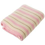 Branberry - Pink Pebble & White Stripe Cot Blanket