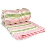 Branberry - Bassinet Blanket Pink Mint & White Stripe