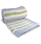 Branberry - Bassinet Blanket Stripe Garter Blue/Mint/White