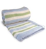 Branberry - Bassinet Blanket Stripe Garter Blue/Mint/White