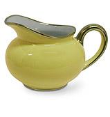 Limoges - Legle Pastel Yellow Cream Jug Gold Rim