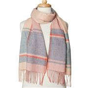 Creswick - Lambswool Scarf Check Camel & Duck Egg 160x30cm