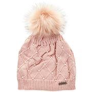 Beanie - Essence Cross Pearl Beanie Ladies Pink
