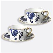 Bernardaud - Prince Blue Breakfast Cups & Saucers Set 2pce
