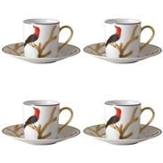Bernardaud - Aux Oiseaux Coffee Cup and Saucer Set of 4