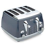 Delonghi - Icona Metallics Four Slice Toaster Cobalt Blue