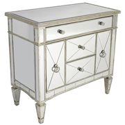 Dasch - Mirrored Dresser Nightstand Antique Ribbed 5 Drawers