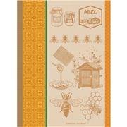 Garnier-Thiebaut - Tea Towel Miel Et Abeilles Ocre 56x77