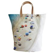 Med Blue - Tropea Maxima Natural Canvas Beach Tote