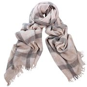 DLUX - Monty Wool Mix Check Scarf Sand