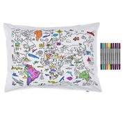 Eat Sleep Doodle - World Map Pillowcase