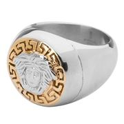 Ferrissimo - Medusa Gold Plated Round Ring Size Z