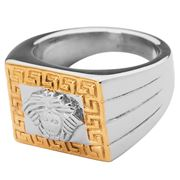 Ferrissimo - Medusa Gold Plated Rectangle Ring Size Y