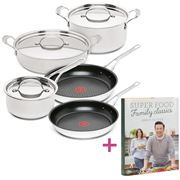 Tefal - Jamie Oliver Premium Stainless Steel Set 5pce + Book