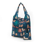 Eco-Chic - Foldaway Shopper Funky Cats Dark Green