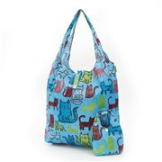 Eco-Chic - Foldaway Shopper Funky Cats Sky Blue