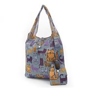 Eco-Chic - Foldaway Shopper Funky Cats Dark Grey