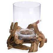 Schlittler - Hurricane Lamp Round Driftwood 28cm